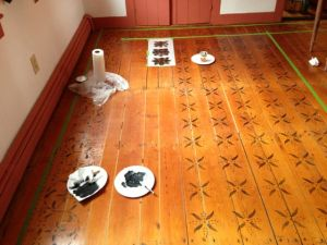 The floor stenciling actually went fairly quickly and was only a two day job.