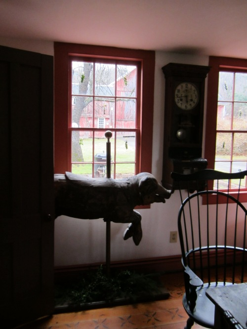 The dining room is also home to a French carousel pig.